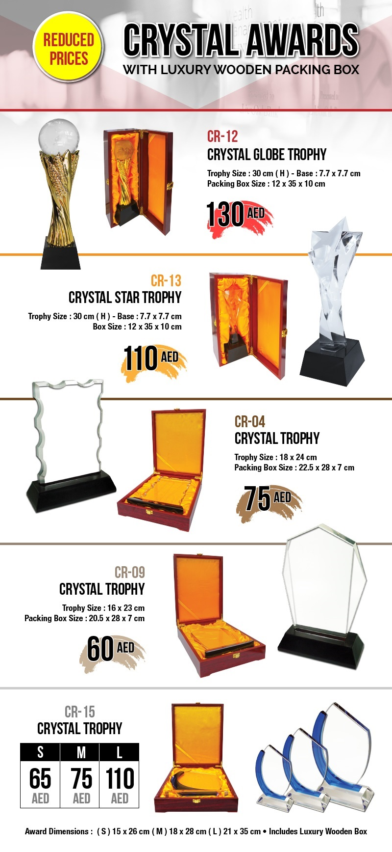 Crystal Awards with Reduced Prices