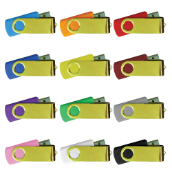 USB Flash Drives in Mirror Shiny Gold Swivels