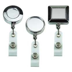 Silver Mirror Shiny Reel Badges