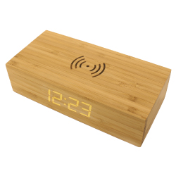 Bamboo Wireless Charger with Clock JU-WCP-CLK