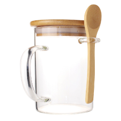 Clear Glass Mugs with Bamboo Lid and Spoon TM-031