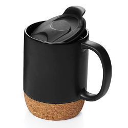 Mugs with Lid and Cork Base 151-BK