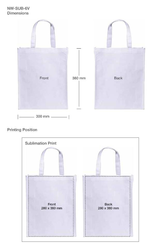 Printing details Non Woven Sublimation Bags NW-SUB-6V