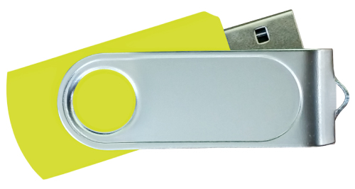 Swivel USB with 1 Side Epoxy Logo 4GB - Yellow