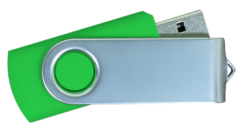 Matt Silver Swivel USB 4GB - Green