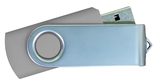 Matt Silver Swivel USB 4GB - Grey