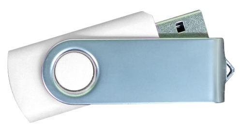 Matt Silver Swivel USB 4GB - White