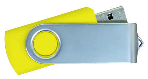 Matt Silver Swivel USB 4GB - Yellow