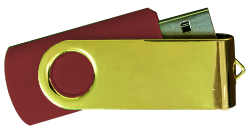 Mirror Shiny Gold Swivel USB 4GB - Maroon