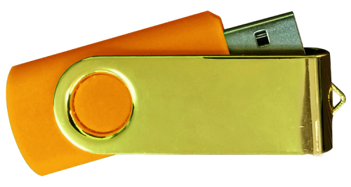 Mirror Shiny Gold Swivel USB 4GB - Orange