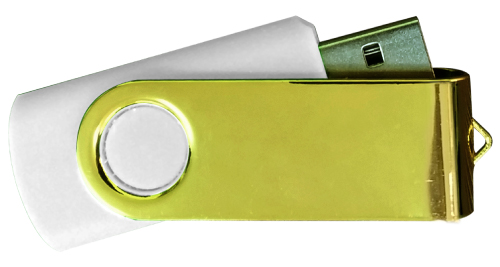 Mirror Shiny Gold Swivel USB 4GB - White