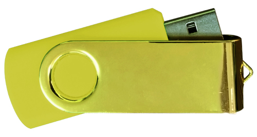 Mirror Shiny Gold Swivel USB 4GB - Yellow