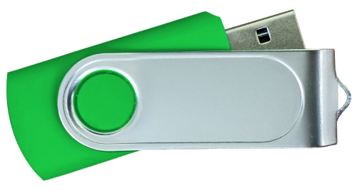Swivel USB with 2 Sides Epoxy Logo 4GB - Green