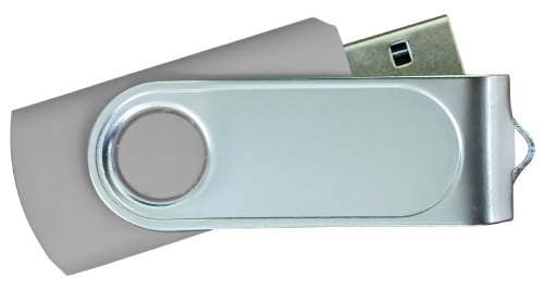 Swivel USB with 2 Sides Epoxy Logo 4GB - Grey