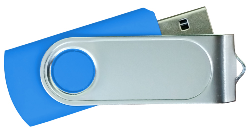 Swivel USB with 2 Sides Epoxy Logo 4GB - Royal Blue