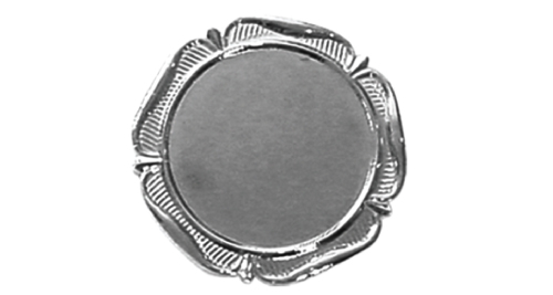 Badge (Flower Design,37mm) without Pin - Silver