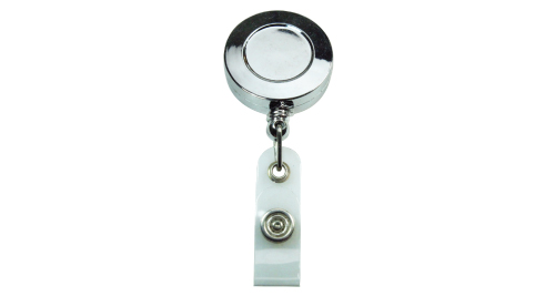 Silver Shiny Round Reel Badge