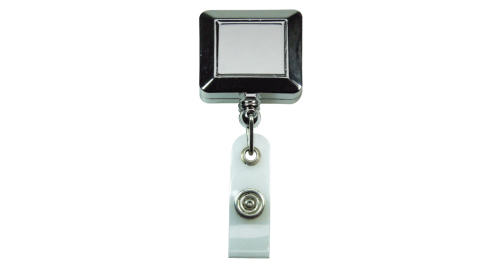 Silver Shiny Square Reel Badge