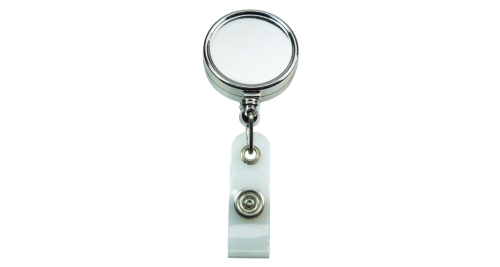 Silver Shiny Round Flat Reel Badge